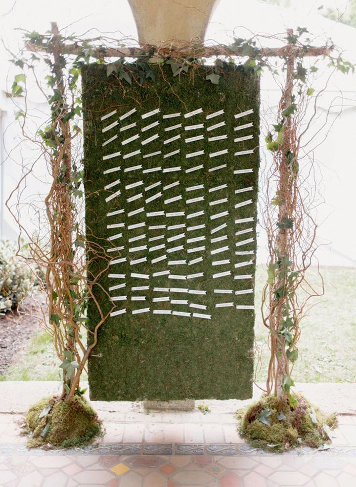 Rustic moss covered seating chart  ~ we ❤ this! moncheribridals.com