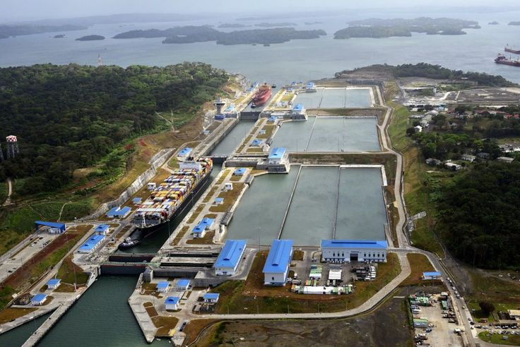 Ships transit the Panama Canal's new Agua Clara locks, located on the Atlantic side of the waterway. Photo: Panama Canal Authority – gCaptain