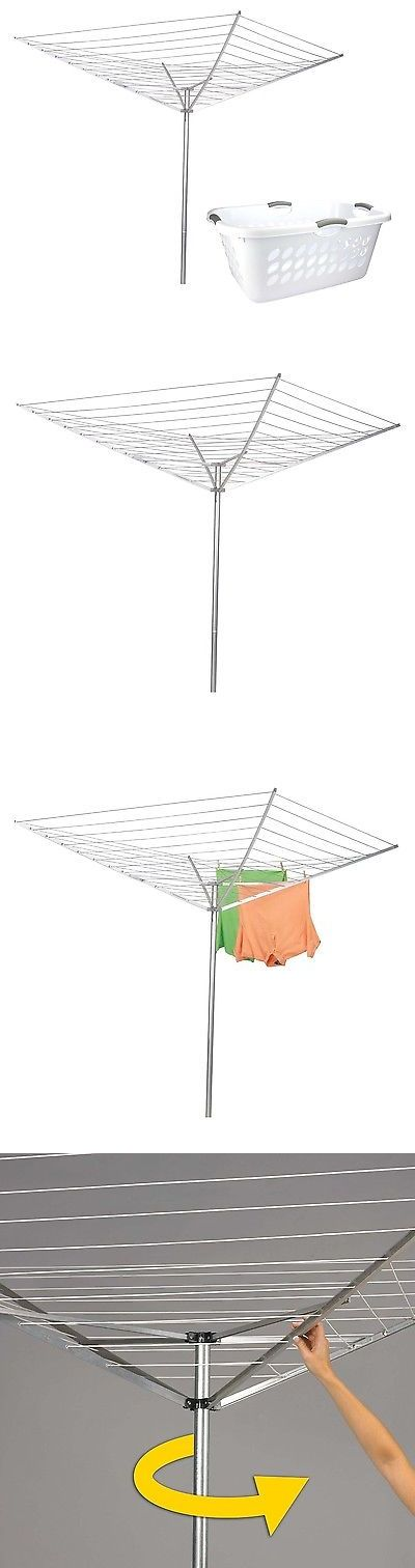 Clotheslines and Laundry Hangers 81241: Household Essentials Outdoor Umbrella Clothes Dryer + Plastic Laundry Basket -> BUY IT NOW ONLY: $59.99 on eBay!