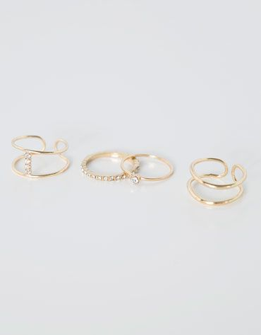 Bershka Ukraine - Fine rings with diamond detail