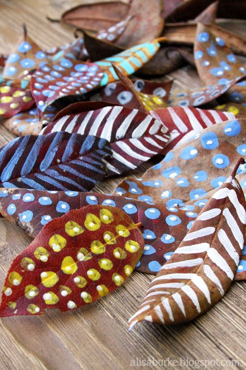 painted leaves - simple cfafts for kids
