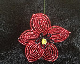 Armagnac Copper  U-Pins or Bobby Pins  French Beaded Flower