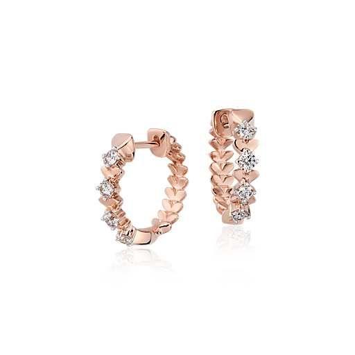Blue Nile Studio Rose Petal Small Diamond Hoop in 18k Rose Gold #BlueNile #Fashion #Design
