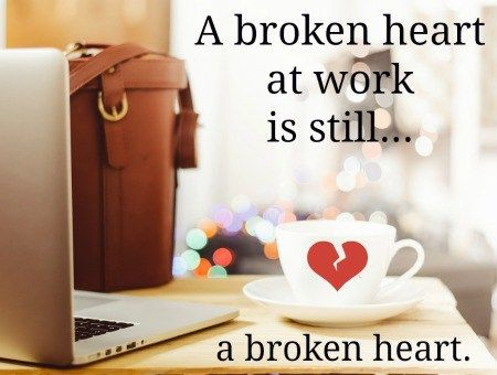How to Stop a Work Breakup From Destroying Your Workday - Dating a coworker can bring a thrill to your job…until you find yourself dealing with a break up at work. These six tips on how to cope with a work breakup will help you focus on your job, get through the workday, and heal your broken heart. #datingcoworkers #workrelationships #breakups