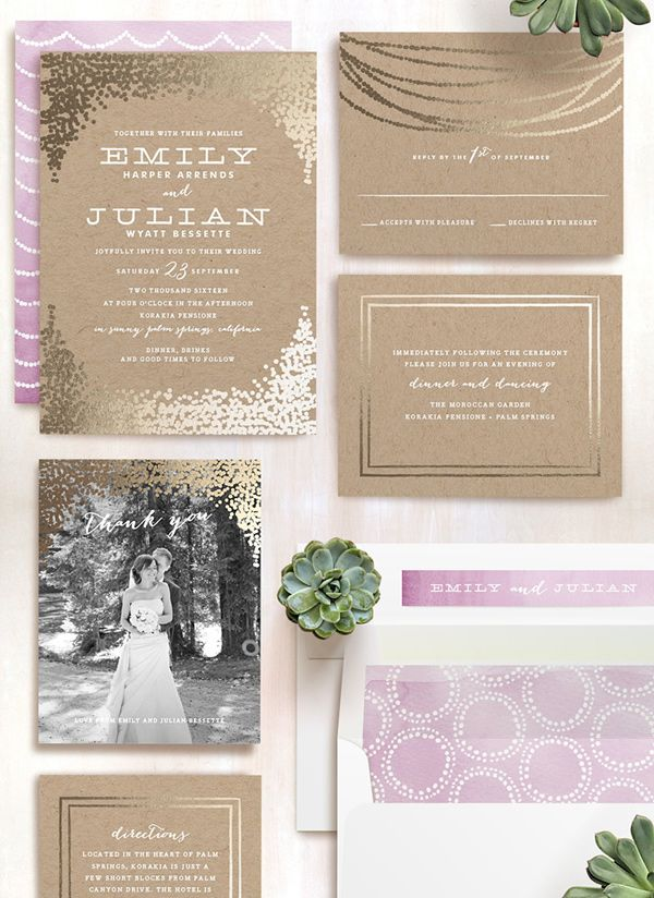 Gold Rush Customizable Foil pressed Wedding Invitations