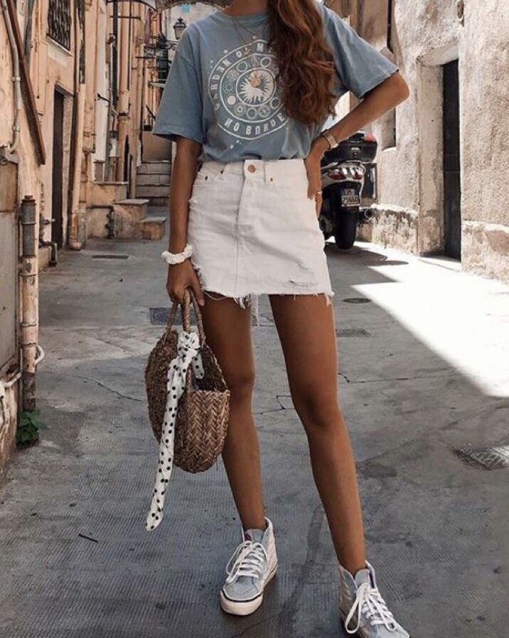 white denim skirt, white chunky sneakers, graphic blue tee