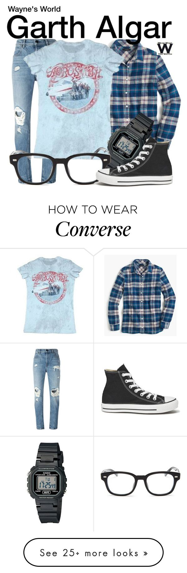 """Wayne's World"" by wearwhatyouwatch on Polyvore featuring Alexander Wang, J.Crew, Casio, Gucci, Converse, wearwhatyouwatch and film"