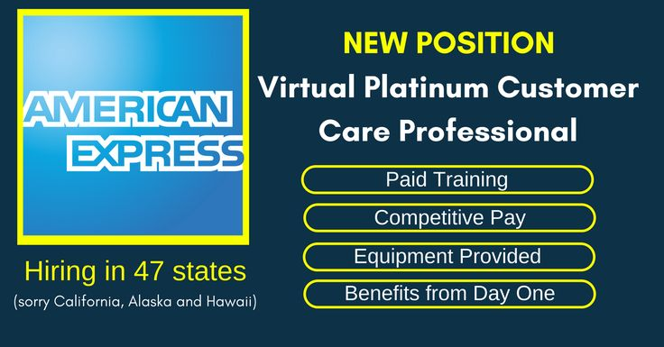 "American Express Now Hiring ""Virtual Platinum-Customer Care Professionals"" via @https://www.pinterest.com/ratracerebellio/"