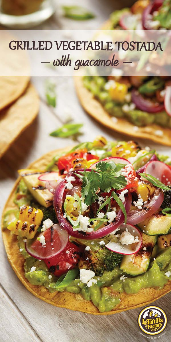 Savor summer with these scrumptious, veggie-topped tostadas with creamy guacamole. They're completely customizable and taste divine with any type of grill-friendly veggie you have on hand. Recipe on the blog!