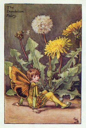 Dandelion Flower Fairy Print c.1927 Fairies by Cicely Mary Barker