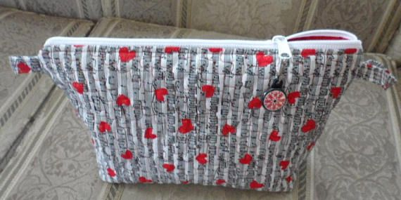 Quilted Cosmetic Wedge Bag/Handmade Cotton Quilted Cosmetic