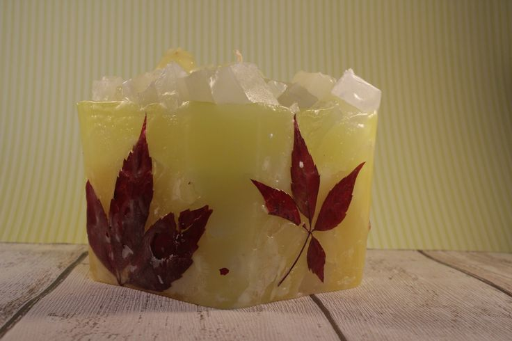 wax candle with Parthenocissus Planch.