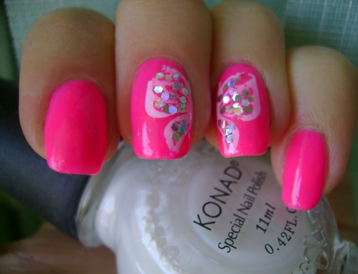 breast cancer nail art | acrylic nail art designs: Go Pink Wednesday -Butterfly wings