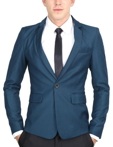 Doublju Mens Casual Vivid Color Onebutton Blazer Jacket (075D): Amazon.co.uk: Clothing