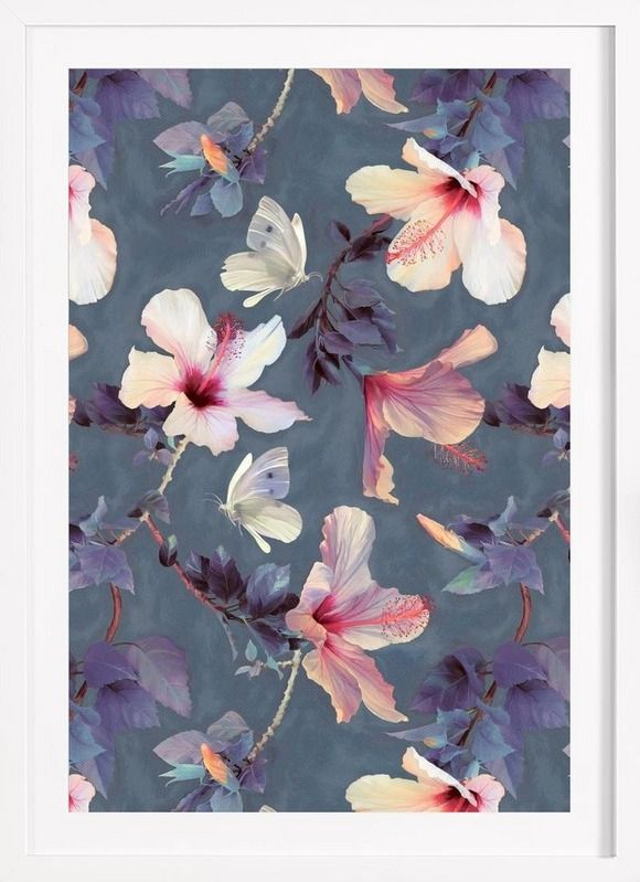 Butterflies & Hibiscus Flowers as Framed Poster by Micklyn Le Feuvre | JUNIQE