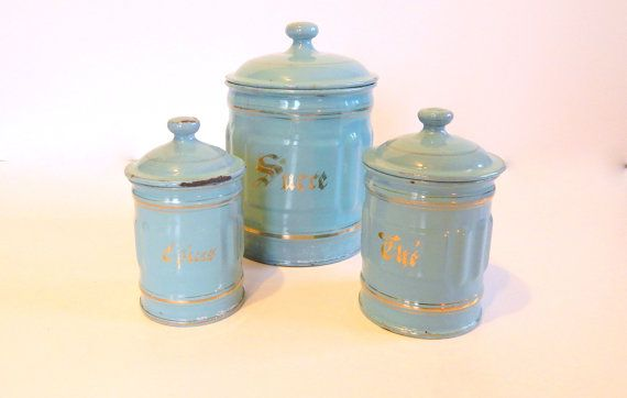 Vintage French Enamelware Canisters in Duck Egg Blue with Gold Decoration