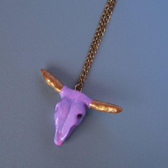 bull skull necklace craneo de toro collar hecho a por OhMyGodJewels