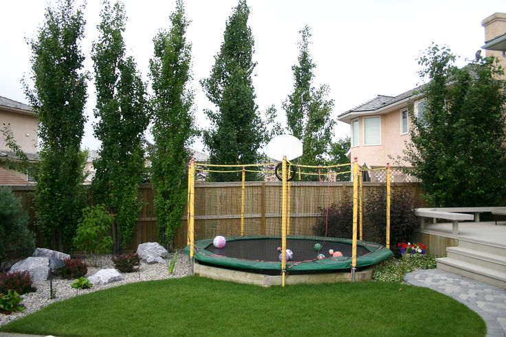 partially sunken trampoline.... I would consider this.  this might be good.  I don't like the fully sunken ones though because you have to have such a deep hole, and you need vents for the air to escape or else it won't bounce.