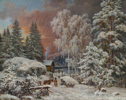 """""""Winter Landscape in Savo"""" 1860 - """"Talvimaisema Savossa"""", Magnus von Wright (1805–1868) - Veljekset von Wrightin ansioksi voi laskea senkin,että suomalainen taidehistoria sai sellaisenkin genren kuin talvimaisemakuva.Magnus von Wright oli Suomen ensimmäisiä talvimaisemien kuvaajia,tunnettuja ovat esimerkiksi Talvimaisema Savosta (1860) ja Annankatu kylmänä talviaamuna (1868).Hänen Helsinki-kuvansa ovat myös kulttuurihistoriallisesti arvokkaita."""