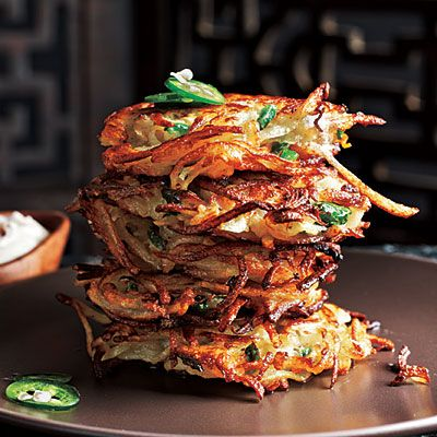 Cilantro-Jalapeño Latkes with Chipotle Sour Cream < The New Way to Cook Light - Cooking Light