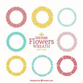 Variedade desenhado mão de coroas de flores coloridas