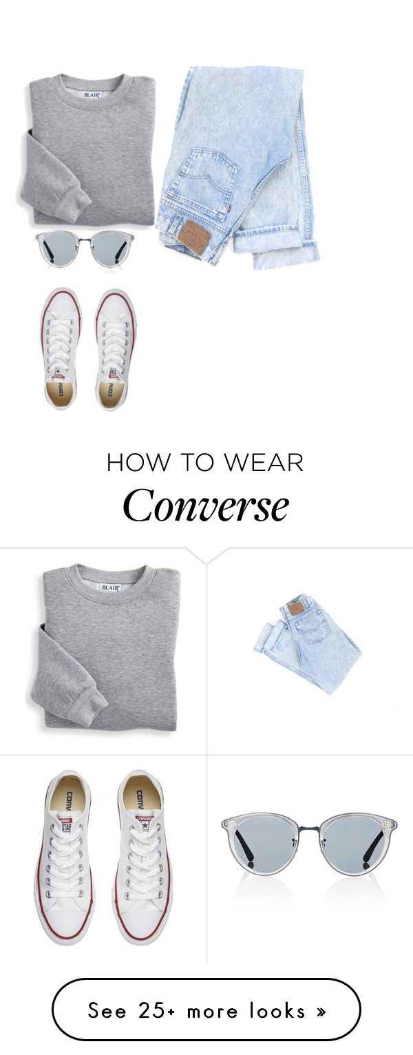 """""""Denim and Converse"""" by fashionlife45 on Polyvore featuring Blair, Oliver Peoples and Converse"""