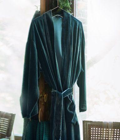 Morgonrock i sammet | Mörkgrön | H&M HOME | H&M SE