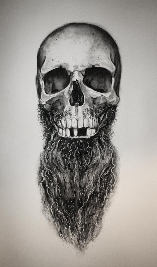 Daniel a bavell sketch bearded skull beard beards men man tattoo idea tattoos ink