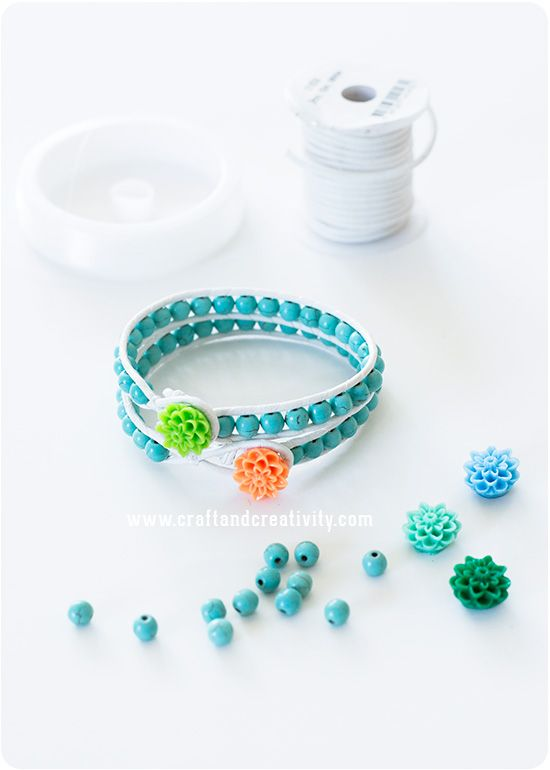 Leather bracelet with stone beads - by Craft & Creativity