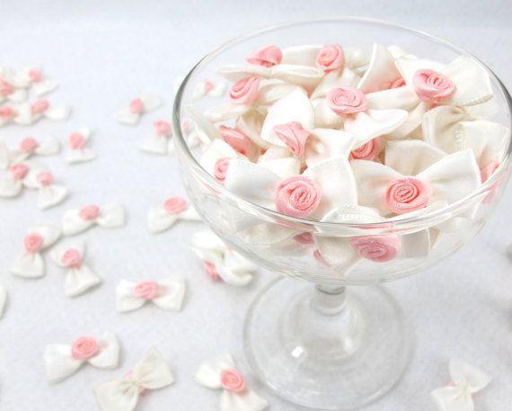 15 Pieces Satin Bow With Rose Flower BudWhite BowWedding