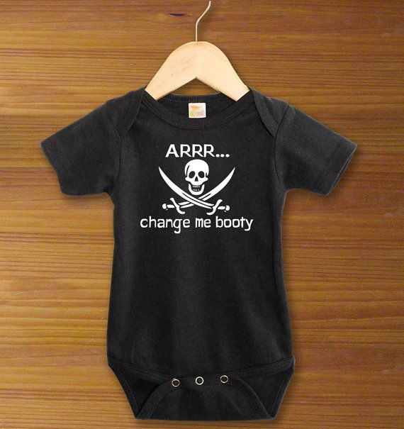 Arrrr... Change Me Booty Black Pirate Funny Saying Baby One Piece Bodysuit for Boys and Girls Cute Baby Shower Gift on Etsy, $12.99