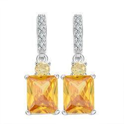 Yellow Zircon Platinum Plated Earrings