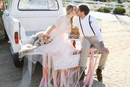 Rustieke en romantische trouwerij. Landelijke fotoshoot