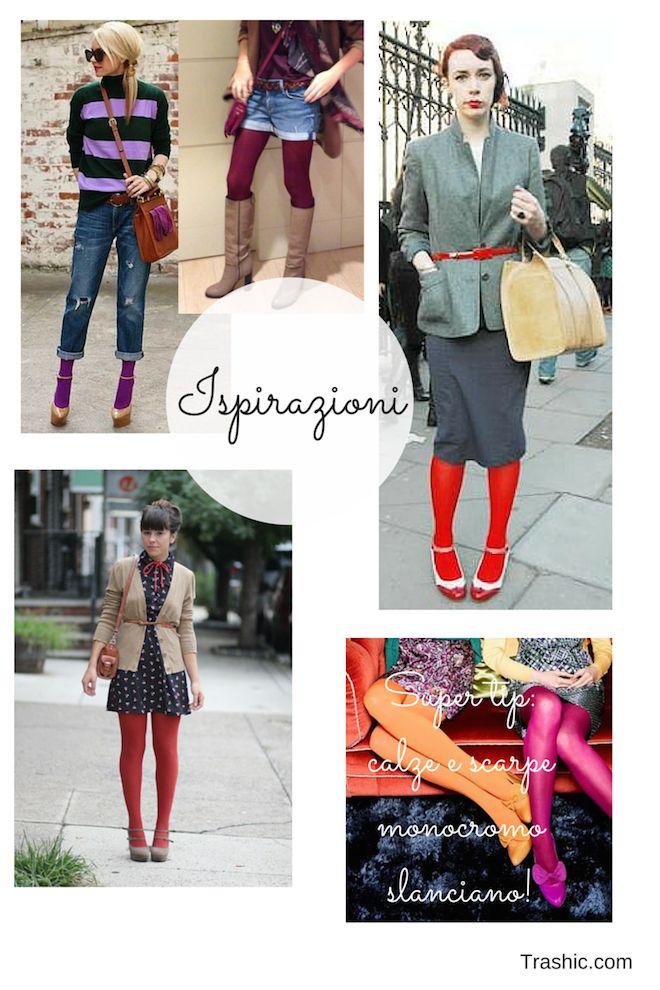 #Ispirazioni per indossare le #calze #colorate. Qui il post: http://trashic.com/2015/01/come-indossare-e-abbinare-le-calze/