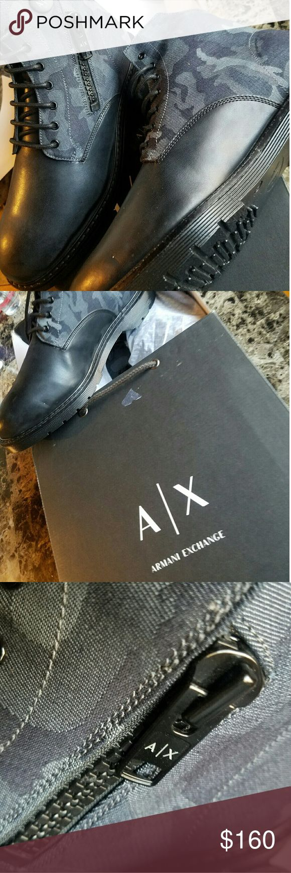 Armani Exchange A|X Camo Zippered Boots Original. Never Worned. Bought the wrong size. Really Nice Camo A|X Zippered Boots.  US Size 10  Items comes with original box from store.  Ships as soon as possible. Armani Exchange Shoes Boots