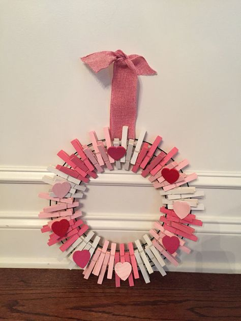 Heart Clothes Pin Wreath 12