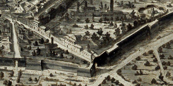 Da una stampa del 1700 1730 del Riccardi la porta Romana e la chiesa.