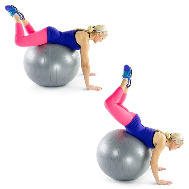 Frog Crunch on Stability Ball: For this move, you'll lay on your stomach on top of the stability ball and pulse your legs up towards the ceiling, lifting your knees off the stability ball.