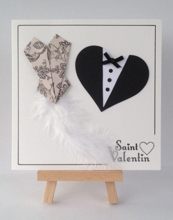 Carte Saint Valentin Bustier Plume Coeurs Costume Noeud Papillon : Cartes par l-atelier-des-mille-cartes
