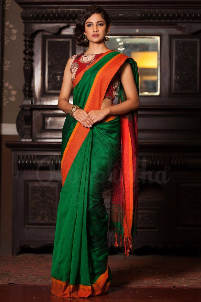 Green Cotton Handloom Saree With Orange Border