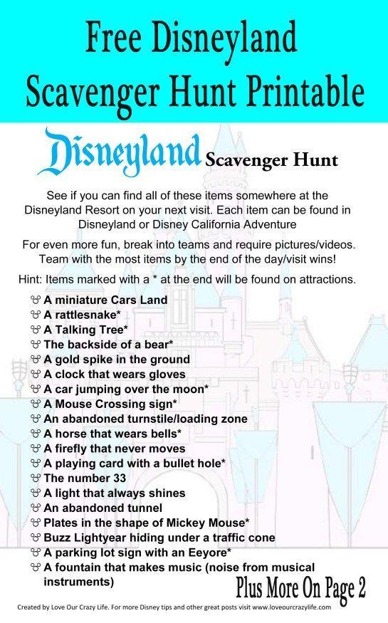 Free Printable Disneyland Scavenger Hunt