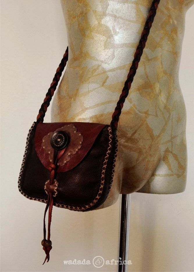 Handmade Upcycled Deerskin Leather Cross Shoulder Plaited Sling Pouch with Wooden Buttons & Beads by WadadaAfrica on Etsy