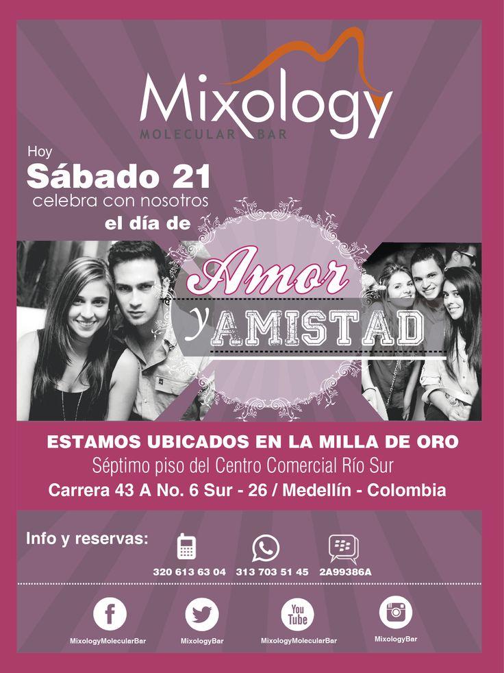 Flyer, evento Amor y Amistad. Cliente: Mixology - molecular bar. Medellín - 2013.