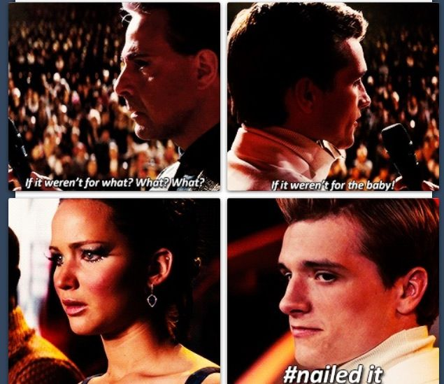 THAT FACE. Katniss and Peeta funny reaction to pregnancy.