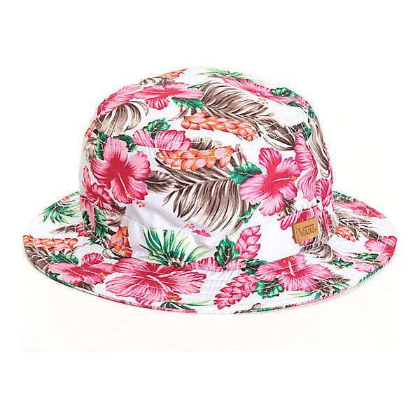 Vans Brohola Hawaiian Floral Bucket Hat ($25) ❤ liked on Polyvore featuring accessories, hats, fisherman hat, floral hat, pattern hats, floral fisherman hat and bucket hats