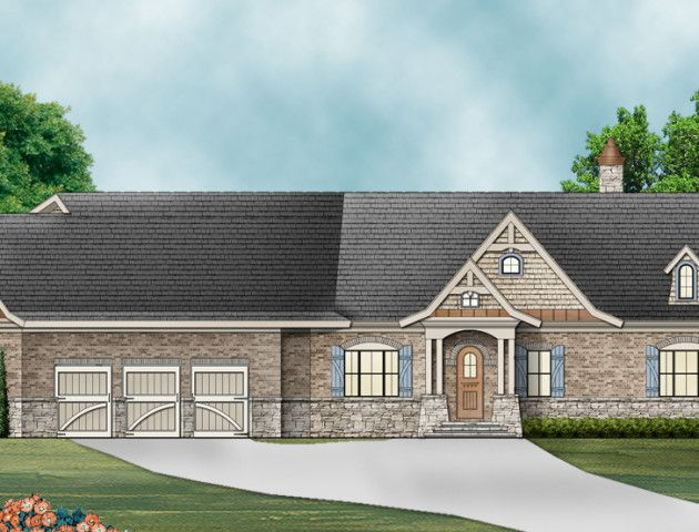 The Mayberry Place is a versatile. A perfect retirement house plan with everything on one floor. Also great for a family with aging parents featuring an In-Law suite