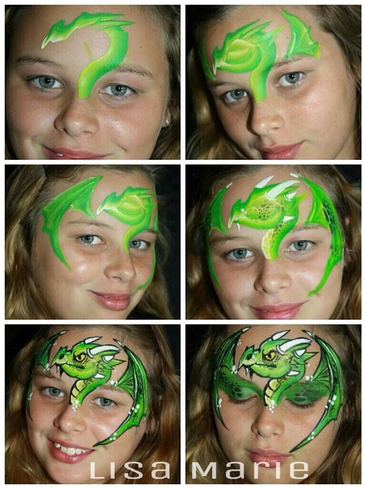 Step By Dragon Face Painting Ideas For Kids