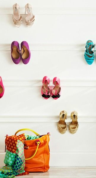 Don't let shoes clutter the hallways in your home. Find a creative and unique way to store them! With over 40 ways to organize your shoes, you're sure to find the perfect solution by clicking on this link. Start by using crown molding to hang your heels from the wall.