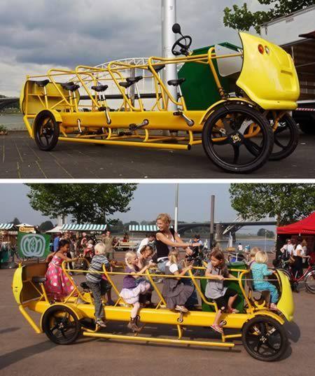 The solution for obesity in children: a pedal powered schoolbus!     De oplossing voor obesitas bij kinderen. En het is nog een Nederlandse vinding ook!