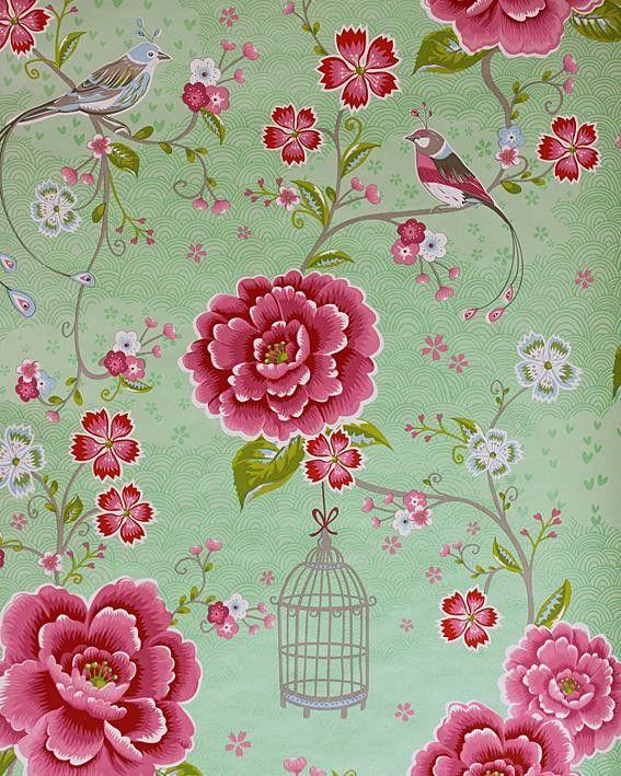 Kinderbehang Pip - Vogel , bloem groen/roze 313013